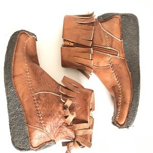 Frye Aztec Fringe Leather Booties